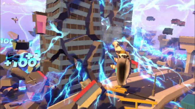 A charged Mjolnir is hurled through the stacks